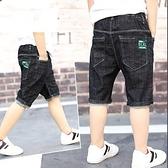 男童牛仔短褲 男童牛仔短褲夏季薄款兒童五分褲男孩牛仔中褲中大童寬鬆休閒短褲-Ballet朵朵