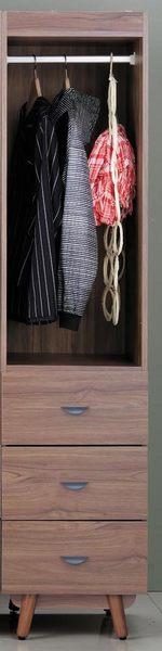 【森可家居】蘿拉1.5尺柚木瑟三抽衣櫃7JX17-7 細長窄型 木紋質感 無印風 MIT