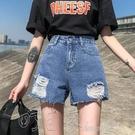 短褲實拍實價高腰牛仔短褲女新款夏季寬鬆a字顯瘦韓版破洞熱褲ins潮 町目家