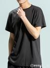 短袖t恤男士夏季圓領情侶裝潮流內搭純色純棉打底衫白色半袖 自由角落