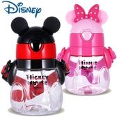 STAR BABY-正牌 迪士尼Q版 米奇米妮 造型小胖瓶 兒童吸管水壺 背帶水壺 440ML