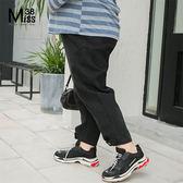 Miss38-(現貨)【A12192】大尺碼牛仔褲 BF男友風 黑色鬆緊腰 縮口褲腳 寬鬆長褲-中大尺碼女裝