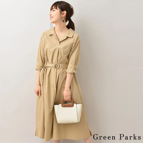 ❖ Spring ❖ 襯衫領附腰帶洋裝 - Green Parks