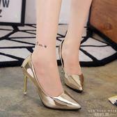高跟鞋 銀色尖頭氣質細跟性感亮皮套腳淺口