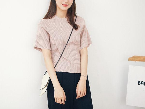 東京奈奈日系針織衫短袖短款百搭上衣[j3875]