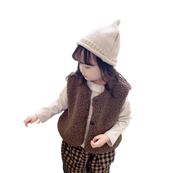 小童 毛毛鋪棉厚背心 中性款 羊羔毛背心 背心 女童 男童 橘魔法 現貨 童裝