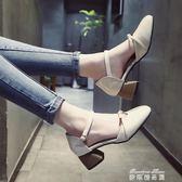 包頭涼鞋女2018新款春夏一字扣高跟鞋粗跟方頭奶奶鞋淺口女士鞋子  麥琪精品屋