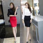 窄裙 后開叉女高腰彈力黑色工裝短裙OL一步職業包裙(XS-4XL)