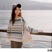 《FA2159-》滿版編織圖騰針織毛衣上衣 OB嚴選