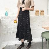 DE shop - 高腰點點A字長裙 - D-158