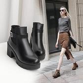 馬丁靴女英倫風裸靴子女靴韓版百搭粗跟切爾西短靴高跟女鞋 『夏季狂歡』
