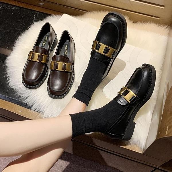 牛津鞋/紳士鞋 鞋子女2020秋季新款百搭休閒復古英倫風小皮鞋網紅粗跟黑色單鞋女