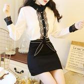 秋裝韓國甜美氣質蕾絲花邊拼接雪紡衫翻領打底衫長袖襯衫上衣—交換禮物