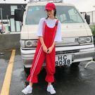 女裝正韓學院風寬鬆撞色條紋背帶褲連體褲休...