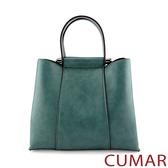 CUMAR 雲彩刷紋多夾層手提斜背包-藍綠色