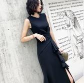 小禮服無袖小禮服裙連身裙平時可穿不規則高開叉氣質宴會名媛復古風長裙 伊蒂斯