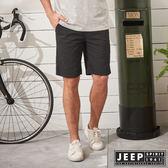 【JEEP】時尚型男素面休閒短褲-黑 (合身版)