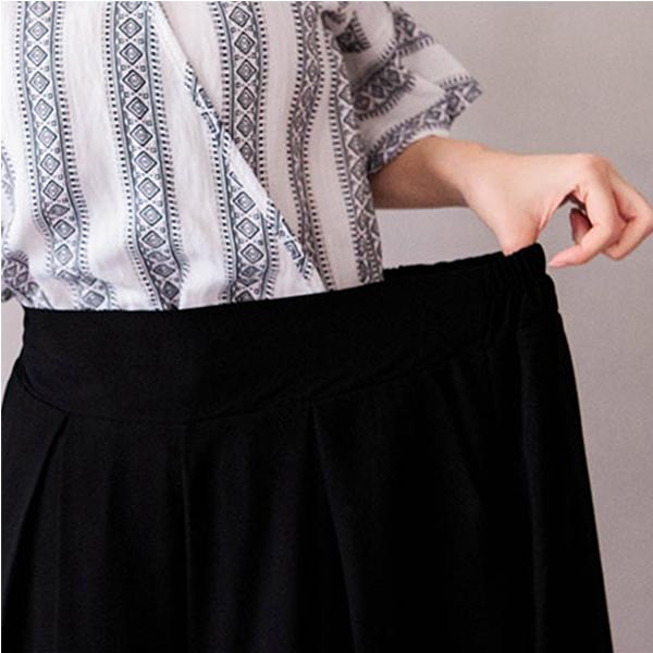 MIUSTAR 前壓摺鬆緊腰雙口袋小腿微透雪紡寬褲(共1色)【NH0624GW】預購