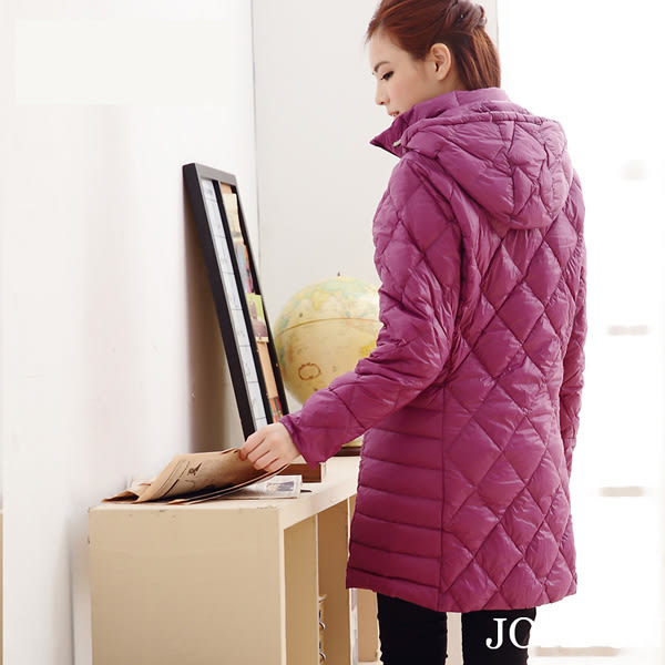 JORDON 橋登 JD5023-紫 女菱格紋長版超輕羽絨外套 輕量化羽絨衣/可收納羽絨衣/保暖羽絨外套