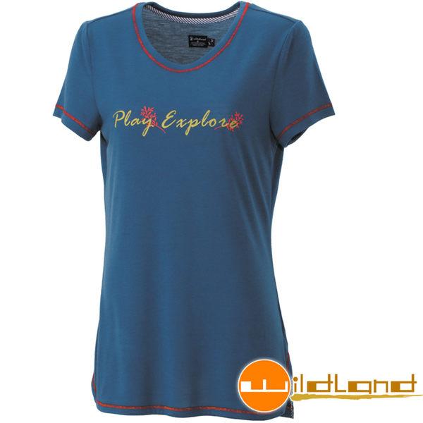 Wildland 荒野 0A31611-46土耳其藍 女仿棉感圓領印花上衣
