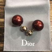 ■專櫃74折■2019新品■Dior Tribales 漿果紅色珍珠耳環