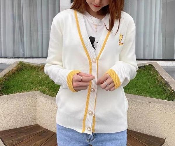 毛衣 2020春秋裝新款開衫外套女針織V領刺繡毛衣寬鬆外穿網紅上衣疊穿 琪朵市集