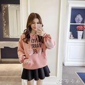 秋冬少女學院風金絲絨連帽T恤女bf韓版高中學生短款加絨加厚外套 卡卡西