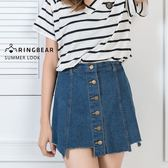 牛仔裙--夏日率性風排釦鬆緊帶裙頭丹寧不規則短裙襬A字裙(藍XL-5L)-Q89眼圈熊中大尺碼