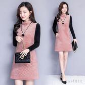 中大尺碼假兩件洋裝 秋冬季新款修身韓版加絨加厚顯瘦中長款打底a字裙 js16797『Pink領袖衣社』