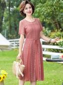 媽媽禮服媽媽夏裝連身裙婚禮服中老年女裝氣質新款四五十歲女人蕾絲裙子40 童趣屋