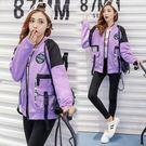 飛行夾克 韓版  字母拼接棒球外套 紐約周