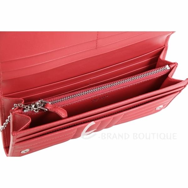 PRADA Diagramme 絎縫小牛皮附證件套釦式長夾(紅色) 1810363-54