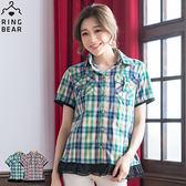 格紋襯衫--獨特皮帶式造型立體口袋拼接雪紡下擺短袖撞色格紋襯衫(紅.綠M-2L)-H96眼圈熊中大尺碼