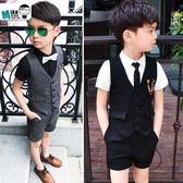 花童禮服男童馬甲禮服套裝韓版夏季兒童小西裝短袖中褲兩件套 Ic450『男人範』