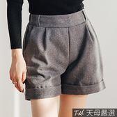 【天母嚴選】褲管反摺雙口袋鬆緊腰毛呢短褲