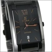 【萬年鐘錶】SIGMA 全黑金字時尚腕錶 5812MBRG