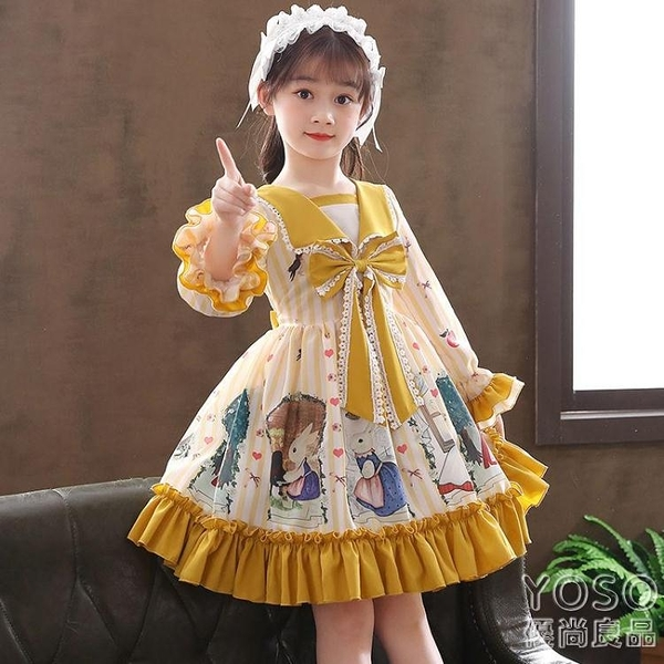女童洋裝 公主裙女童春夏裝2021新款洋氣兒童連衣裙lolita蘿莉公主裙 618大促銷