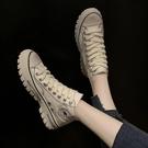 夏新款韓版百搭休閒運動厚底帆布鞋女學生透氣高筒小白鞋板鞋新年交換禮物