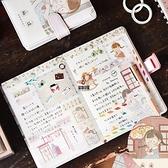 皮面手賬本彩色內頁磁扣日記本可愛創意搭扣筆記本子日記本記事本【愛物及屋】