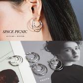 耳環 Space Picnic 三環碎鑽金屬耳環(現貨)【C19091015】