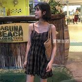 露背洋裝 夏季女裝韓版中長款抹胸吊帶裙收腰顯瘦露背格子無袖洋裝短裙潮·夏茉生活