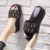 拖鞋女外穿ins潮2020年新款夏高跟涼拖網紅涼鞋松糕厚底坡跟時尚 【ifashion·全店免運】