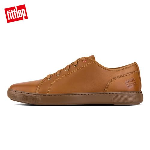 新降5折【FitFlop】CHRISTOPHE SNEAKERS TUMBLED LEATHER輕量簡約繫帶休閒鞋(淺褐色)