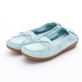 MICHELLE PARK 輕時尚舒適蝴蝶結彈力牛皮休閒平底鞋-粉綠