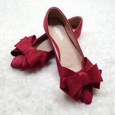 尖頭平底單鞋女工作女鞋蝴蝶結女鞋大碼41-43 44新娘鞋婚鞋    初語生活