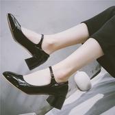 2019日系瑪麗珍小皮鞋方頭軟妹Lolita復古文藝粗跟淺口單鞋扣帶女