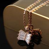 項鍊 純銀鍍18K金 水晶吊墜子-復古簡約生日情人節禮物女飾品73dn98【時尚巴黎】