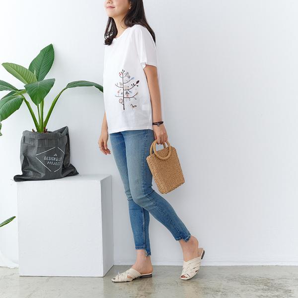 【慢。生活】喜上樹梢刺繡拼接棉質上衣 9870 FREE白色