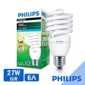 【飛利浦 PHILIPS LIGHTING】Tornado螺旋省電燈泡T2 27W白光E27 120V-6入組