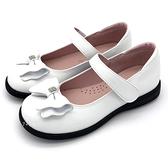 《7+1童鞋》蝴蝶結  方形水鑽  氣質好穿  公主鞋  娃娃鞋   D648  白色
